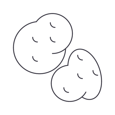 potato vector line icon, sign, illustration on white background, editable strokes