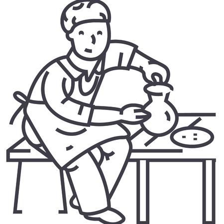 ceramist vector line icon, sign, illustration on white background, editable strokes