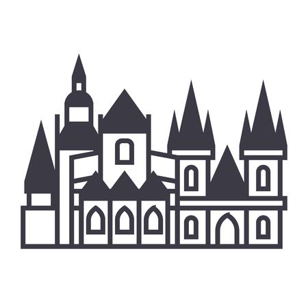 Icona linea di vettore di Praga, segno, illustrazione su sfondo bianco, colpi modificabili Archivio Fotografico - 87222565