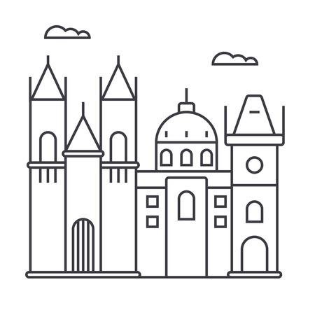 프라하 서명 벡터 라인 아이콘, 기호, 흰색 배경에 그림 편집 가능한 획