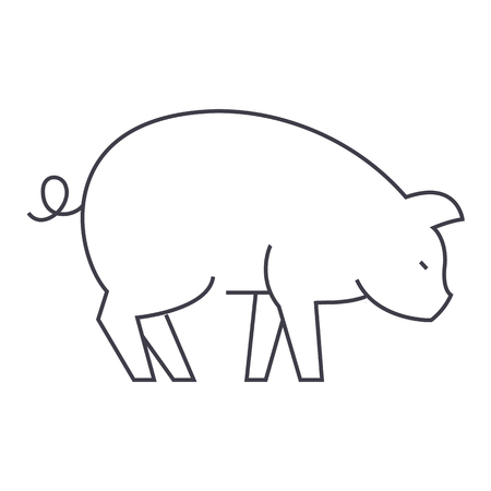 pig vector line icon, sign, illustration on white background, editable strokes