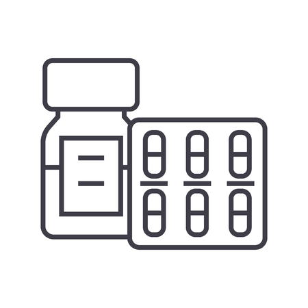 pills and tablets and bottle vector line icon, sign, illustration on white background, editable strokes