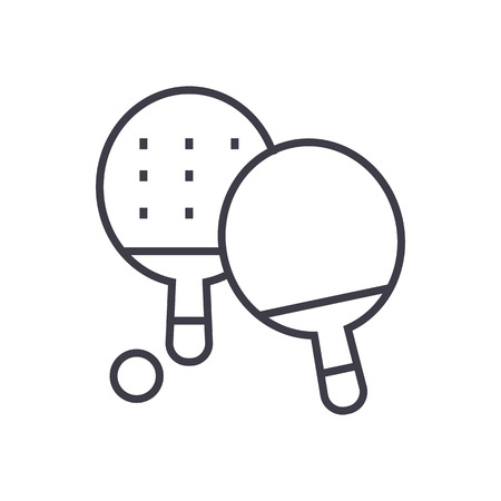ping pong vector line icon, sign, illustration on white background, editable strokes Illustration