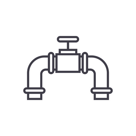 pipes with gas valve vector line icon, sign, illustration on white background, editable strokes