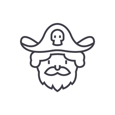 pirate vector line icon, sign, illustration on white background, editable strokes Illustration