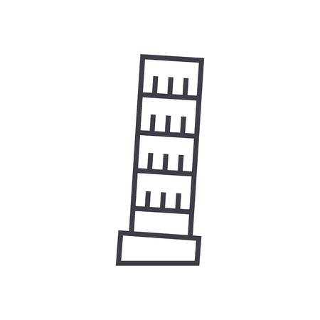 피사, 이탈리아 벡터 라인 아이콘, 기호, 흰색 배경에 그림 편집 가능한 획