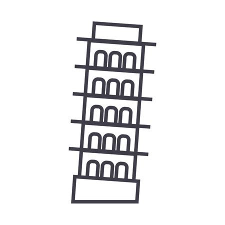 ピサ, イタリア ベクトル線のアイコン, サイン, 白い背景に、編集可能なストロークの図  イラスト・ベクター素材