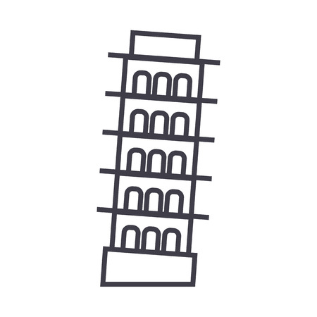 pisa,italy vector line icon, sign, illustration on white background, editable strokes 向量圖像