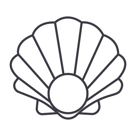 진주 쉘 벡터 라인 아이콘, 기호, 흰색 배경에 그림 편집 가능한 획