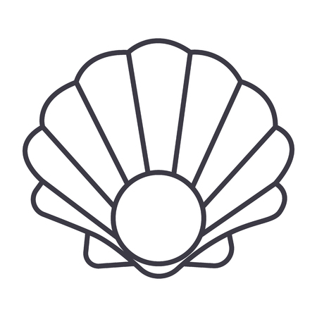 pearl shell vector line icon, sign, illustration on white background, editable strokes Illusztráció