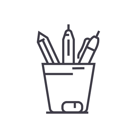 pencil holder vector line icon, sign, illustration on white background, editable strokes