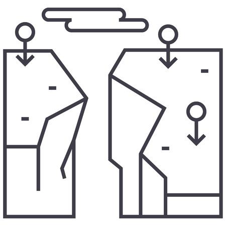 절벽, 파손 벡터 선 아이콘, 기호, 흰색 배경에 그림 편집 가능한 획