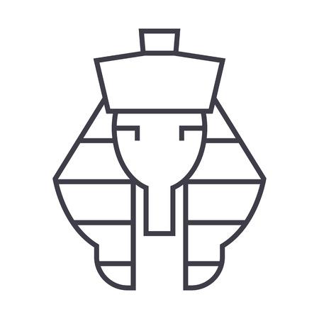 pharaoh vector line icon, sign, illustration on white background, editable strokes