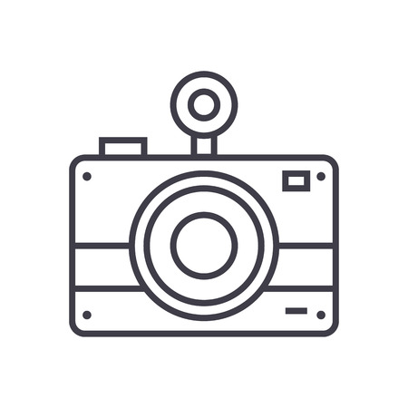 photo camera vector line icon, sign, illustration on white background, editable strokes