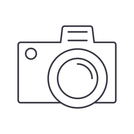 photo camera sign vector line icon, sign, illustration on white background, editable strokes Stock Vector - 87222602