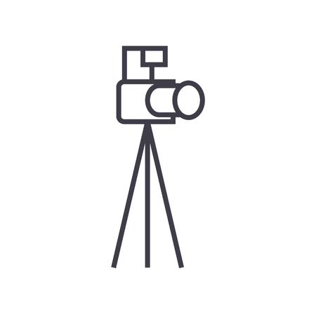 photo camera with tripod vector line icon, sign, illustration on white background, editable strokes
