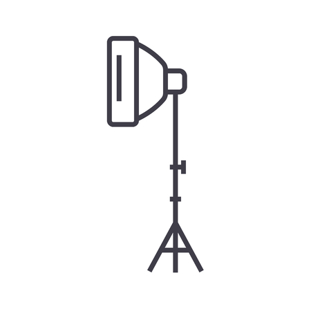 photo light with stand tripod vector line icon, sign, illustration on white background, editable strokes