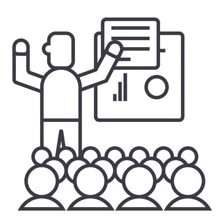 プレゼンテーション、会議、講義ベクトル線アイコン、記号、白い背景に、編集可能なストロークの図
