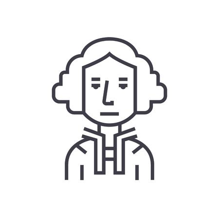 대통령 미국, 워싱턴, judje 벡터 라인 아이콘, 기호, 흰색 배경에 그림 편집 가능한 획