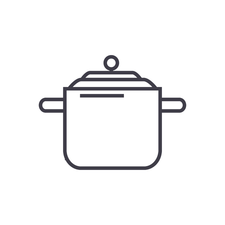 pressure cooker,thermo pot  vector line icon, sign, illustration on white background, editable strokes
