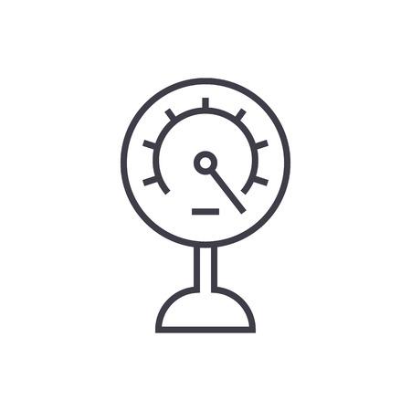 pressure meter vector line icon, sign, illustration on white background, editable strokes Illustration