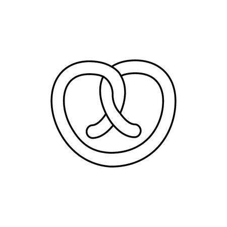 pretzel vector line icon, sign, illustration on white background, editable strokes