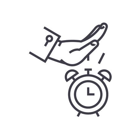 Procastination vector lijn icoon, teken, illustratie op een witte achtergrond, bewerkbare slag