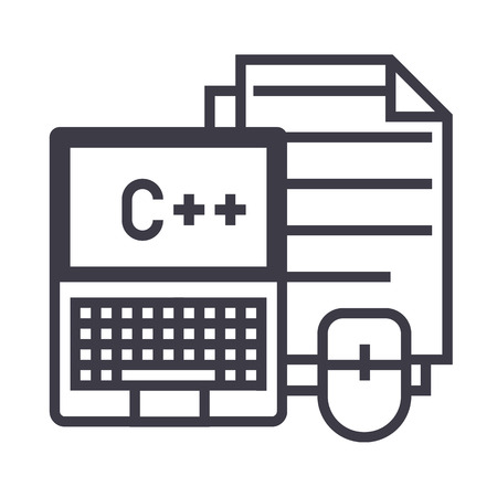 programmering, codering, notebook, muis, docs vector lijn pictogram, teken, illustratie op een witte achtergrond bewerkbare lijnen Stock Illustratie