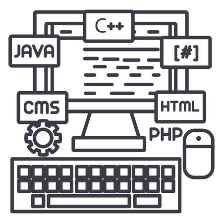 programming,coding,wed developer vector line icon, sign, illustration on white background, editable strokes