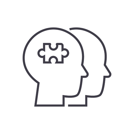 project team, puzzle in head vector line icon, sign, illustration on white background, editable strokes