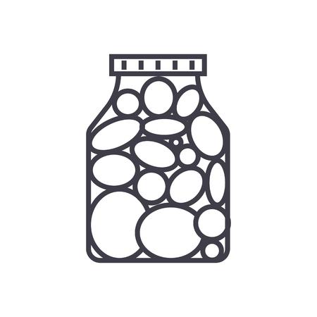ピクルス、マリネ トマト ベクトル線アイコン、記号、白い背景に、編集可能なストロークの図  イラスト・ベクター素材
