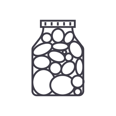 pickles,marinade tomato vector line icon, sign, illustration on white background, editable strokes Иллюстрация