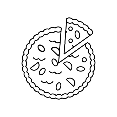 pie bakery vector line icon, sign, illustration on white background, editable strokes