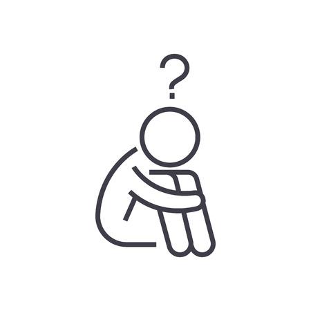 질문 남자, 의심 벡터 라인 아이콘, 기호, 흰색 배경에 그림 편집 가능한 획 일러스트