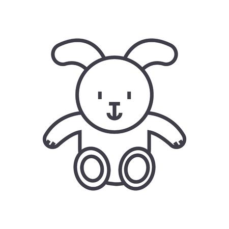 COne de linha do bebê coelho vector, sinal, ilustração em fundo branco, traços editáveis Foto de archivo - 87222658