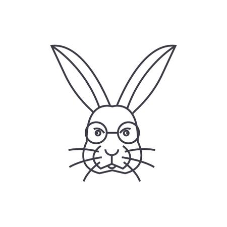 ウサギの頭ベクトル線のアイコン, サイン, 白い背景に、編集可能なストロークの図  イラスト・ベクター素材