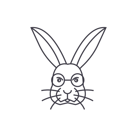 rabbit head vector line icon, sign, illustration on white background, editable strokes