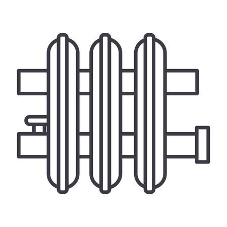 ラジエーターベクトルラインのアイコン、記号、白の背景にイラスト、編集可能なストローク