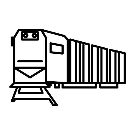 railway logistics,train,cargo vector line icon, sign, illustration on white background, editable strokes Illustration