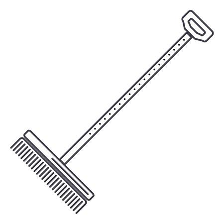 rake,raker vector line icon, sign, illustration on white background, editable strokes