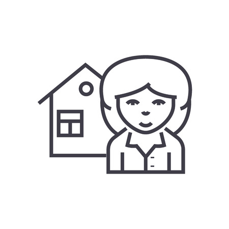 realtor vector line icon, sign, illustration on white background, editable strokes Illustration