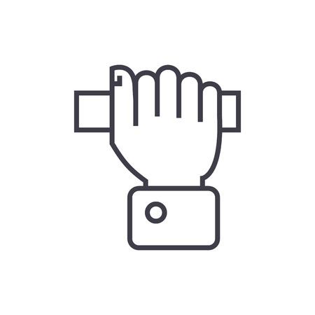 pulling hand  vector line icon, sign, illustration on white background, editable strokes