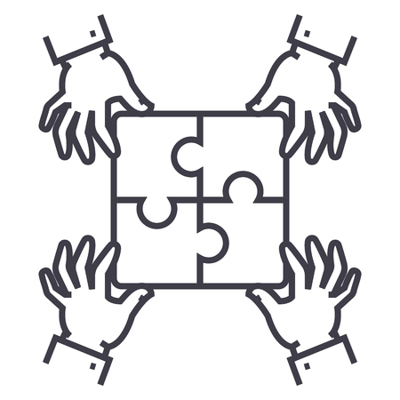 puzzle pieces,strategy vector line icon, sign, illustration on white background, editable strokes
