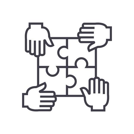 puzzel met vier handen, partnerschap vector lijn icoon, teken, illustratie op een witte achtergrond, bewerkbare streken