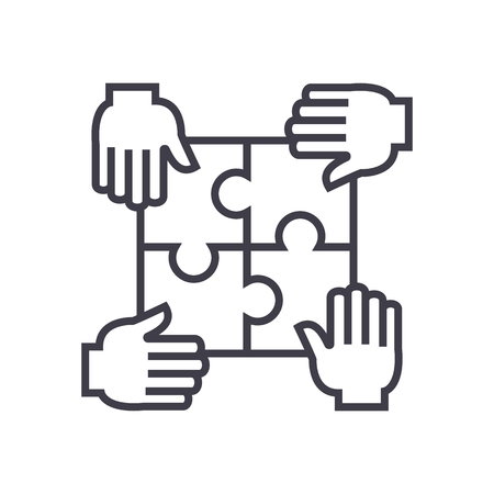 puzzle with four hands,partnership vector line icon, sign, illustration on white background, editable strokes Ilustração