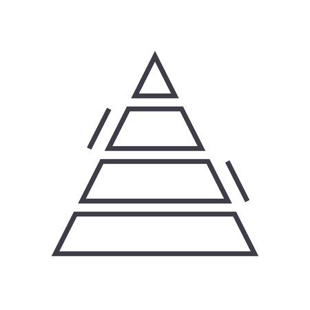 피라미드 차트 벡터 라인 아이콘, 기호, 흰색 배경에 그림 편집 가능한 획 일러스트