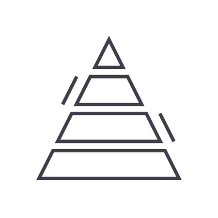 pyramid chart vector line icon, sign, illustration on white background, editable strokes