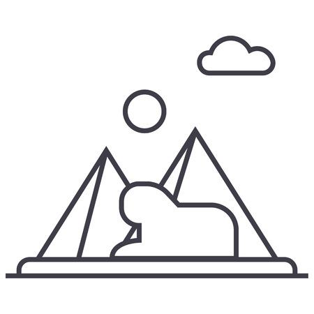 pyramids,egypt vector line icon, sign, illustration on white background, editable strokes