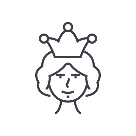 queen vector line icon, sign, illustration on white background, editable strokes