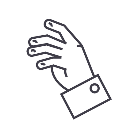 relax hand  vector line icon, sign, illustration on white background, editable strokes Illustration